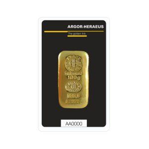 Lingot Or Argor Cast 100g - Gold Service - Achat & vente OR - Boutique en ligne