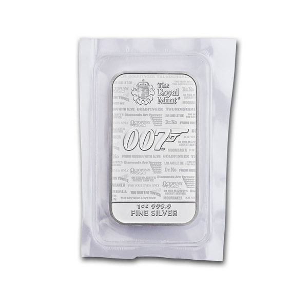 2020 Great Britain 1 oz Silver James Bond 007 Bar