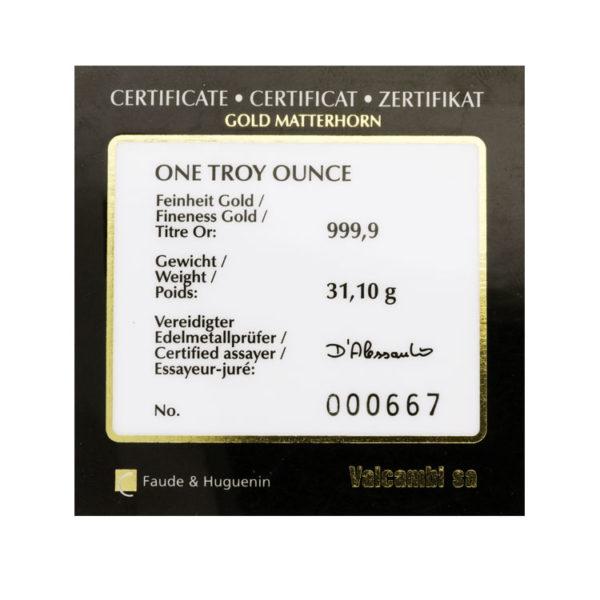 1 Oz Gold Helvetia Matterhorn